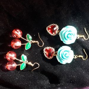 Cherry and Roses Earrings 2 pairs